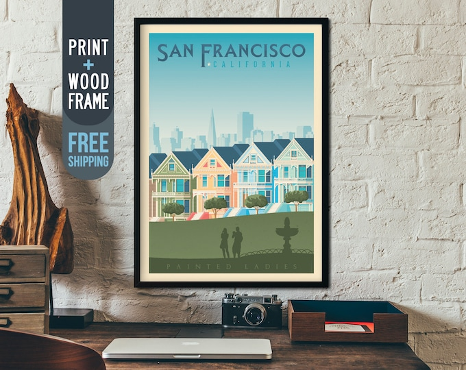 San Francisco Vintage Travel Poster, San Francisco California framed poster, California wall art, home wall decoration, America gift idea
