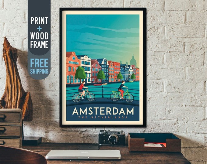 Amsterdam Netherlands Vintage Travel Poster, Amsterdam vintage print, Amsterdam skyline wall art, Amsterdam home wall decoration, gift idea