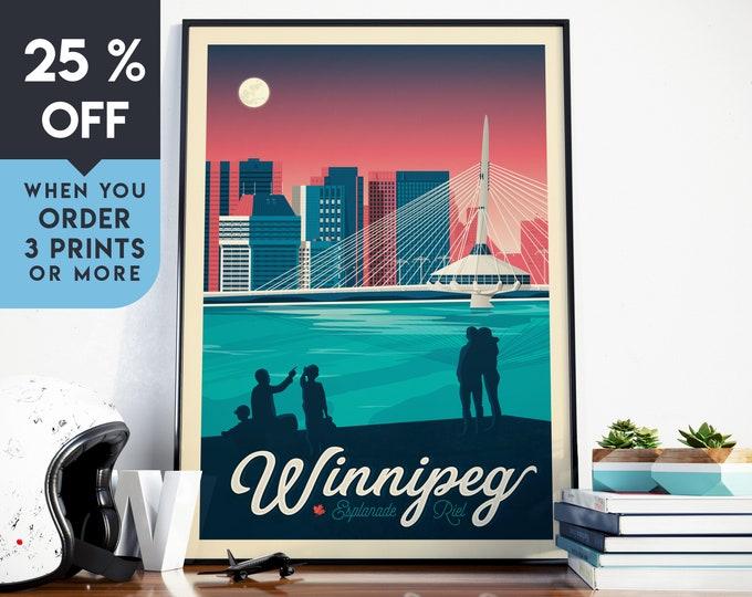 Winnipeg Canada Vintage Travel Poster, Wall Art Print, Minimalist, City Skyline, World Map Art, Cityscape illustration, Home Decor, Gift