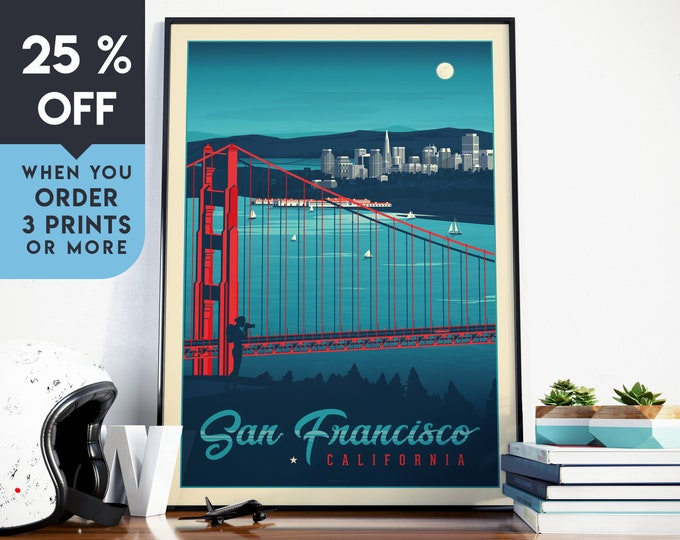 San Francisco California Vintage Travel Poster, Wall Art Print, Minimalist, City Skyline, Map Art, Cityscape illustration, Home Decor, Gift