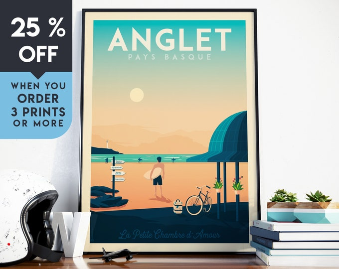Anglet Vintage Travel Poster, Wall Art Print, Minimalist, City Skyline, World Map Art, Beach Surf Tropical illustration, Home Decor, Gift
