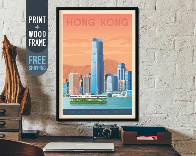 Hong Kong Asia Poster - Hong Kong Asia Travel Poster, Hong Kong framed poster, wall art, home wall decoration, gift idea, China retro print