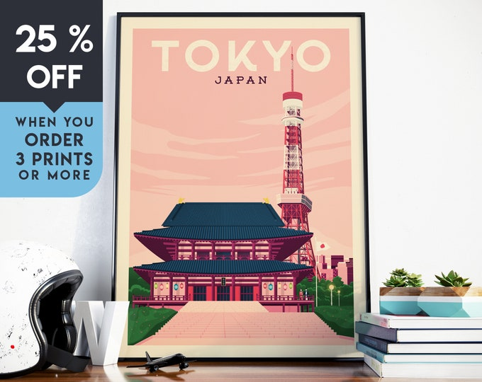 Tokyo Japan Asia Vintage Travel Poster, Wall Art Print, Minimalist, City Skyline, World Map Art, Cityscape illustration, Home Decor, Gift