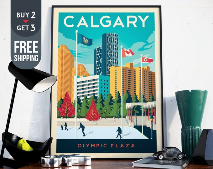 Calgary Olympic Plaza Canada - Vintage Travel Poster, vintage print, wall art, home decoration, wall decoration, gift idea