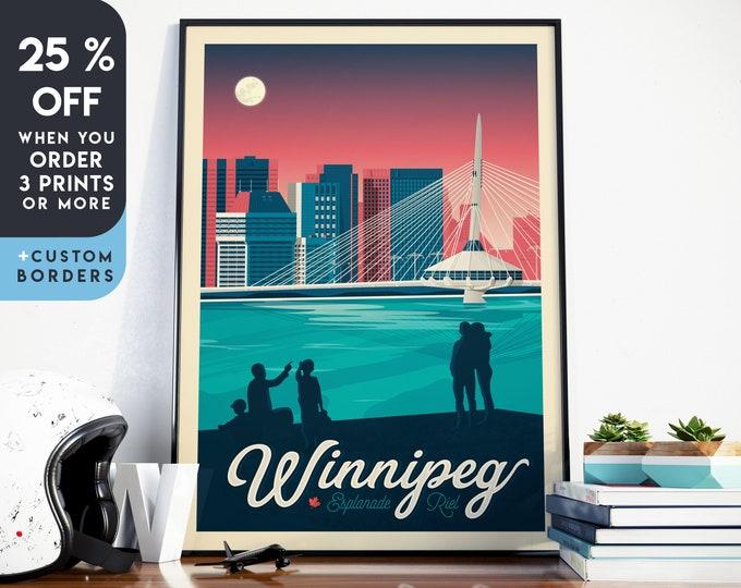 Winnipeg Print   Winnipeg Vintage Travel Poster   Canada Print   Winnipeg Poster   Canada Poster   City Skyline Wall Art   Home Decor   Gift
