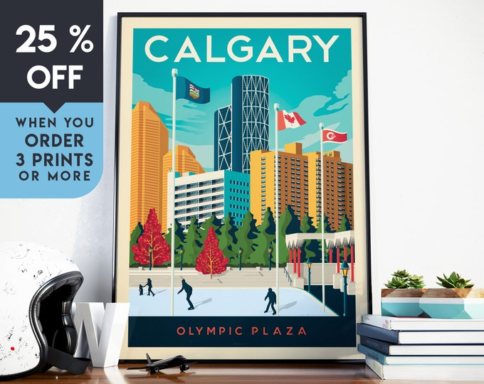 Calgary Canada Vintage Travel Poster, Wall Art Print, Minimalist, City Skyline, World Map Art, Cityscape illustration, Home Decor, Gift