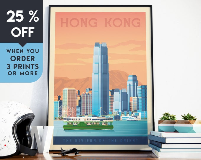 Hong Kong China Vintage Travel Poster, Wall Art Print, Minimalist, City Skyline, World Map Art, Cityscape illustration, Home Decor, Gift