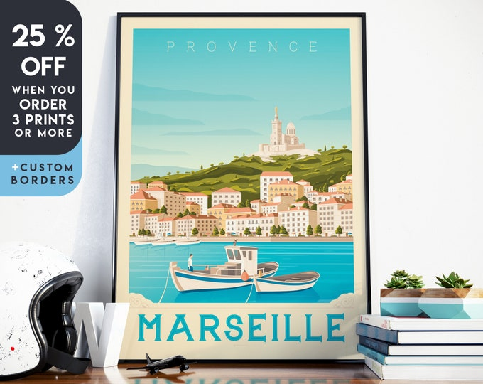 Marseille Print | Marseille Vintage Travel Poster | France Print | Marseille Poster | France Poster | Skyline Wall Art | Home Decor | Gift