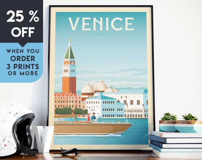 Venice Italy Vintage Travel Poster, Wall Art Print, Minimalist, City Skyline, World Map Art, Cityscape Retro illustration, Home Decor, Gift