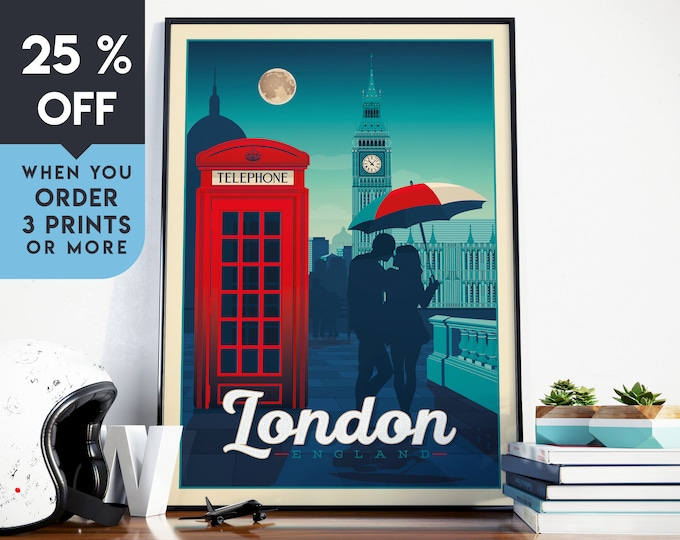 London England Vintage Travel Poster, UK Wall Art Print, Minimalist, City Skyline, World Map Art, Cityscape illustration, Home Decor, Gift