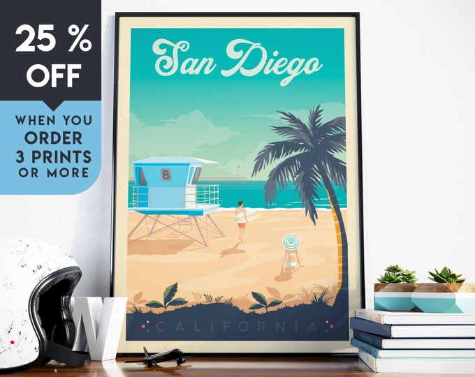San Diego California Vintage Travel Poster, Seascape Wall Art Print, Minimalist Skyline, Map Art, Beach Surf illustration, Home Decor, Gift