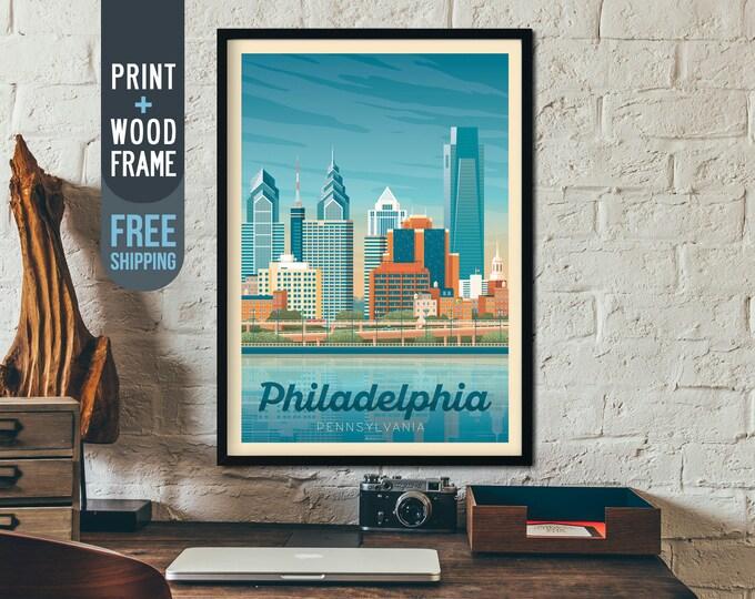 Philadelphia USA Vintage Travel Poster, Philadelphia Usa framed poster, American wall art, USA home wall decoration, gift idea, retro print