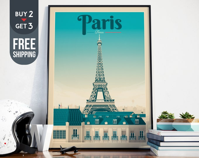 Paris France Eiffel Tower Print - Vintage Paris Travel Poster, vintage France print, wall art, home decoration, wall decoration, gift idea