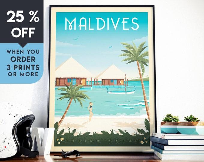 Maldives Islands Vintage Travel Poster, Wall Art Print Minimalist Skyline, seascape Map Art, Beach Sea ocean illustration, Home Decor, Gift