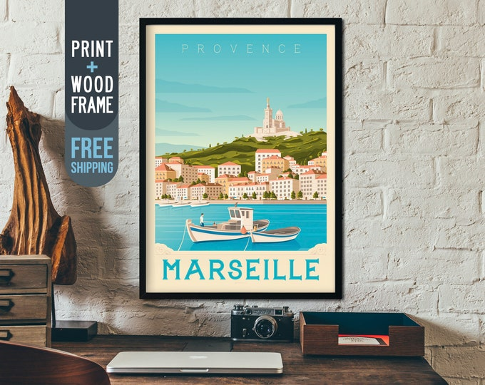 Marseille France Framed Print - Vintage Marseille Travel Poster, framed poster, wall art, home decoration, wall decoration, gift idea