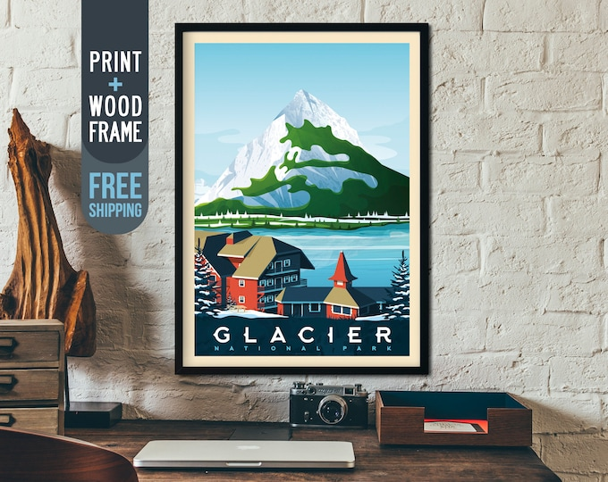 Glacier National Park Print - Nature Wild Vintage Travel Poster, retro framed poster, wall art, home decor, wall decor, american gift idea