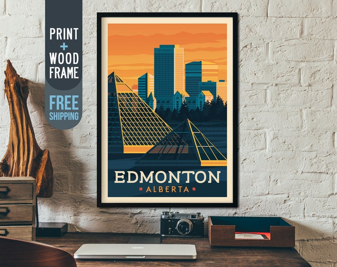 Edmonton Canada Vintage Travel Poster - Vintage art Print, framed poster, wall art, home decoration, wall decoration, gift idea, city poster