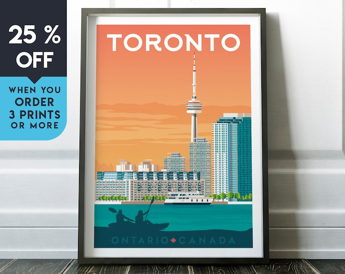 Toronto Canada Vintage Travel Poster, Wall Art Print, Minimalist, City Skyline, World Map Art, Cityscape illustration, Home Decor, Gift