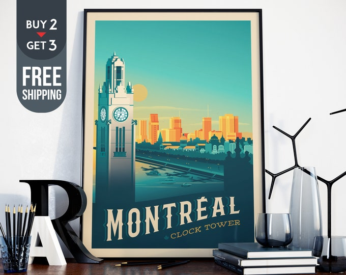 Montréal Canada Print - Montréal Canada Vintage Travel Poster, vintage print, canada wall art, home decoration, wall decoration, gift idea