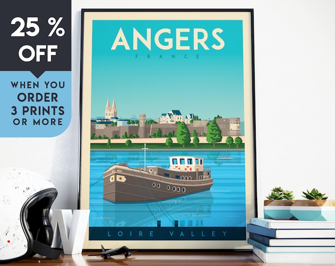Angers France Vintage Travel Poster, Wall Art Print, Minimalist, City Skyline, World Map Art, Retro Cityscape illustration, Home Decor, Gift