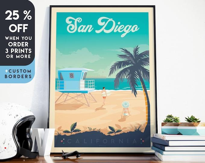 San Diego Print | San Diego Vintage Travel Poster | San Diego California Print | Surf Poster | Beach Skyline Wall Art | Home Decor | Gift