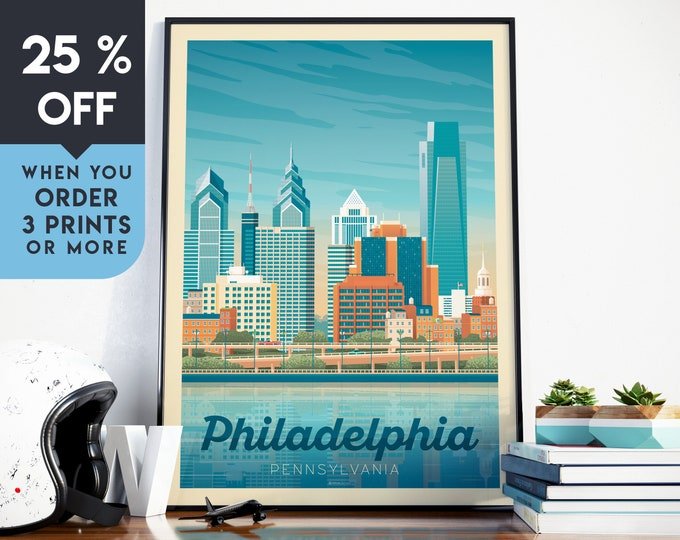 Philadelphia USA Vintage Travel Poster, Wall Art Print, Minimalist, City Skyline, World Map Art, Cityscape illustration, Home Decor, Gift