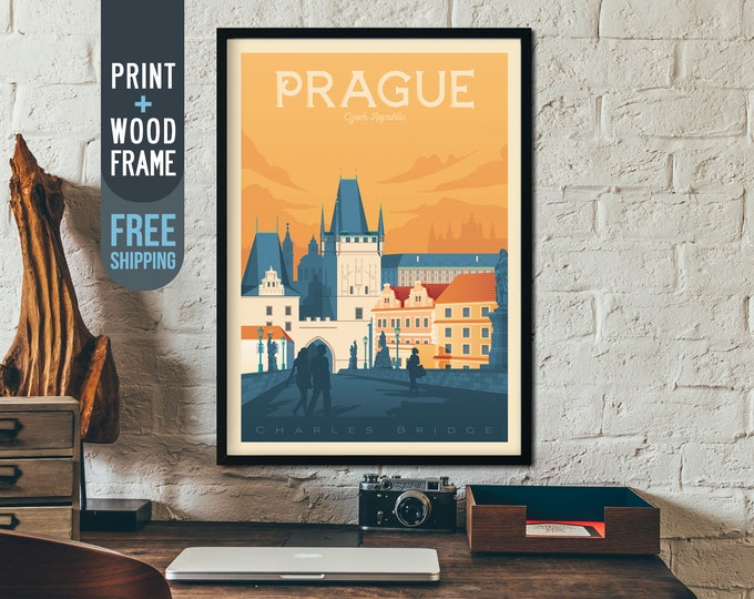 Prague Czech Republic Framed Print - Vintage Prague Travel Poster, Prague Skyline Prague wall art, Prague home decoration, Prague gift idea
