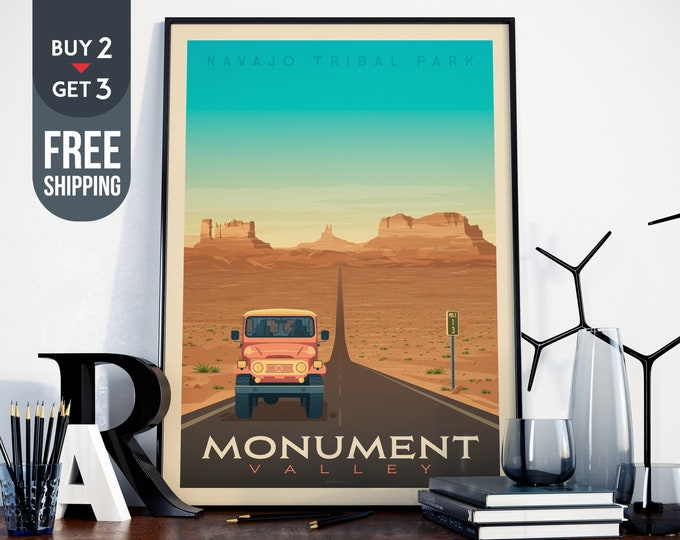 Monument Valley National Park Poster - Monument Valley Vintage Travel Poster, National Park USA wall art, home decor, USA wall decoration