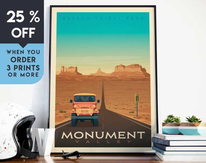 Monument Valley National Park Vintage Travel Poster, Wall Art Print, Minimalist, City Skyline, World Map Art, illustration, Home Decor, Gift