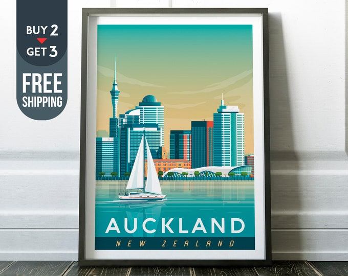 Auckland Travel Poster, Auckland New-Zealand Print, Auckland skyline illustration, sailing, New Zealand wall art, home decor, Gift Idea