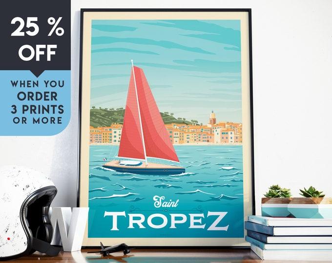 Saint Tropez France Vintage Travel Poster, Wall Art Print, Minimalist, Skyline, World Map Art, Beach Sailing illustration, Home Decor, Gift