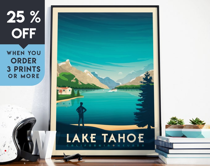 Lake Tahoe National Park Vintage Travel Poster, Wall Art Print, Minimalist, Skyline, Map Art, Forest Nature illustration, Home Decor, Gift
