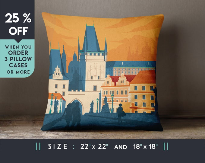 Prague Czech Republic Pillow Case [22x22] Cushion cover, Travel Art Print, Geometry Minimalist, City Skyline, Cityscape illustration, Gift