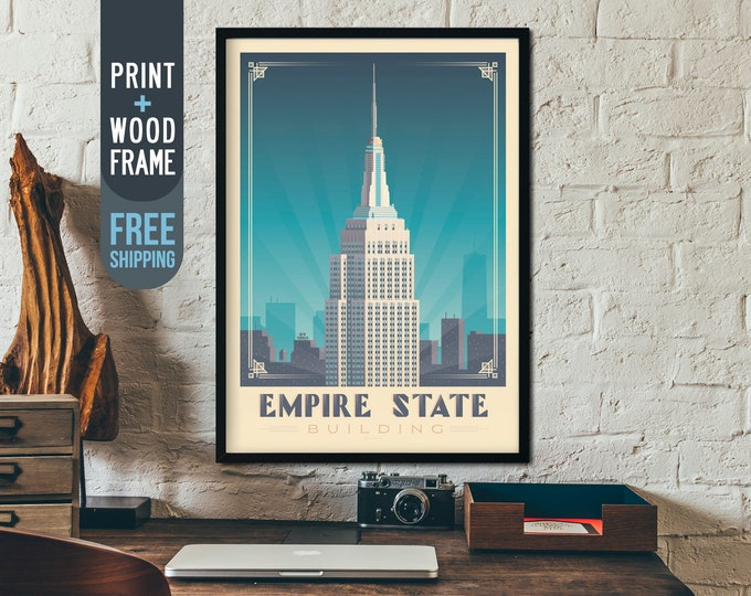 New York City vintage Travel Poster, New York Skyline framed print, Empire State Building poster, USA wall art, home decoration, gift idea