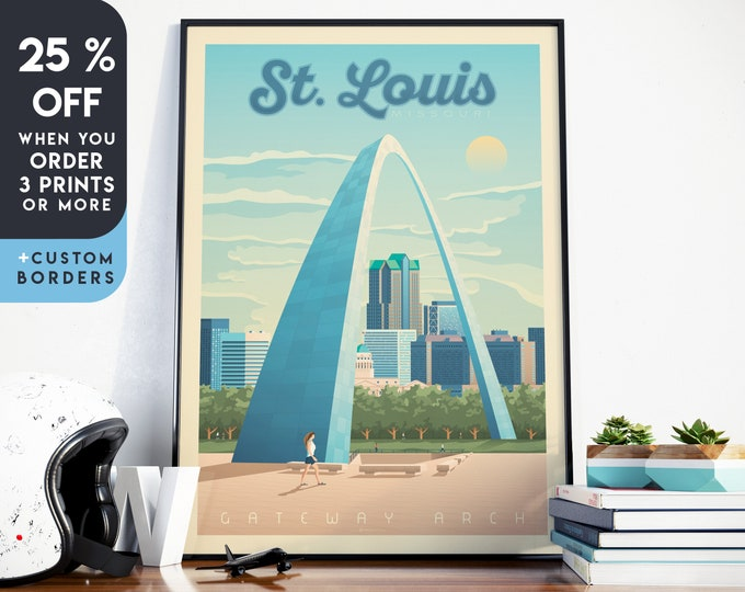 St Louis Print | St Louis Vintage Travel Poster | Saint Louis Print | Gateway Arch Poster | City Skyline Wall Art | Home Decor | Gift