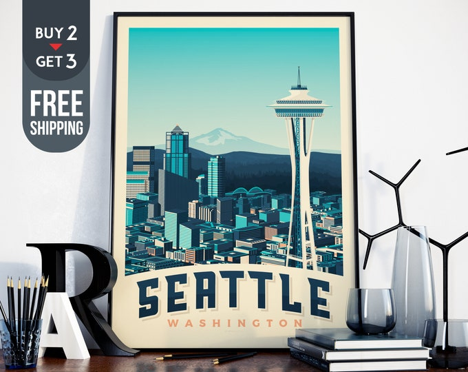 Seattle USA Vintage Travel Poster, Seattle USA vintage print, usa wall art, usa home decoration, USA wall decor, gift idea, Space Needle