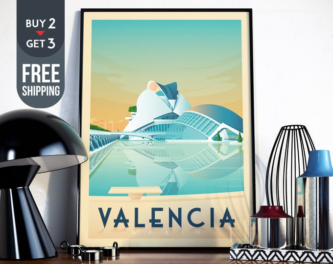 Valencia Spain Vintage Travel Poster - Valencia Retro wall art print - Valencia artistic Map signs design, interior home decor, gift idea