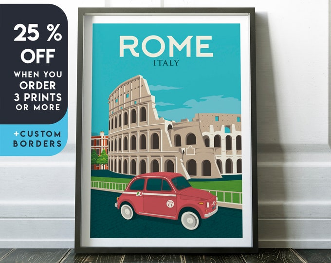 Rome Print | Rome Vintage Travel Poster | Italy Print | Rome Poster | Italy Poster | Rome Coliseum City Skyline Wall Art | Home Decor | Gift