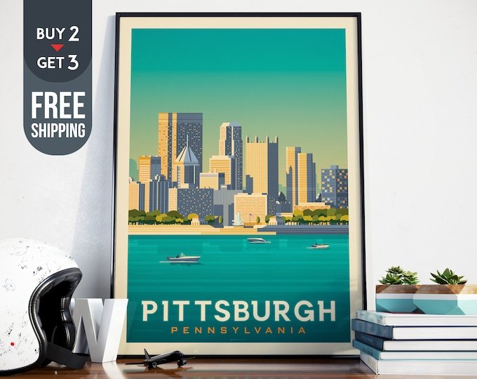 Pittsburgh USA Vintage Travel Poster, Pittsburgh vintage print, USA wall art, Pittsburgh decor, Pittsburgh wall decoration, usa Travel decor