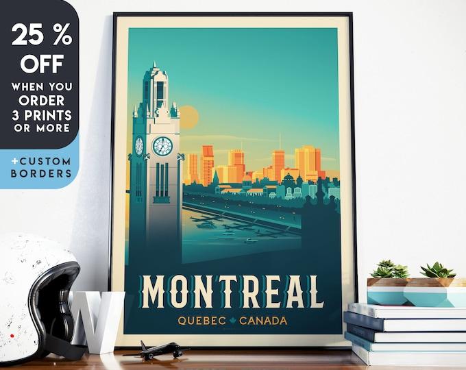Montreal Print   Montreal Vintage Travel Poster   Canada Print   Quebec Poster   Canada Poster   City Skyline Wall Art   Home Decor   Gift