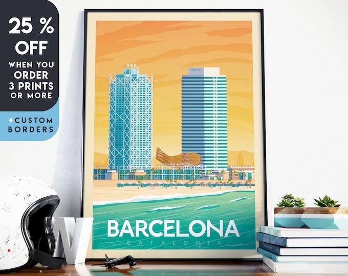 Barcelona Print | Barcelona Vintage Travel Poster | Spain Print | Barcelona Poster | Barcelona City Skyline Wall Art | Home Decor | Gift