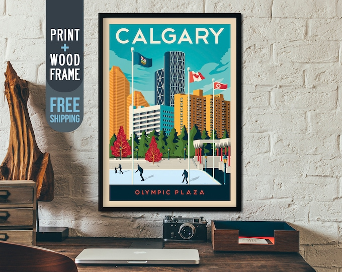 Calgary Canada Vintage Travel Poster, framed poster, Canada wall art, Canada home decoration, wall decoration, gift idea, retro print