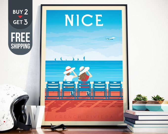 Nice France Travel Poster - Nice France vintage print, Beach Sea Ocean Skyline wall art, French Riviera home decoration, France art decor