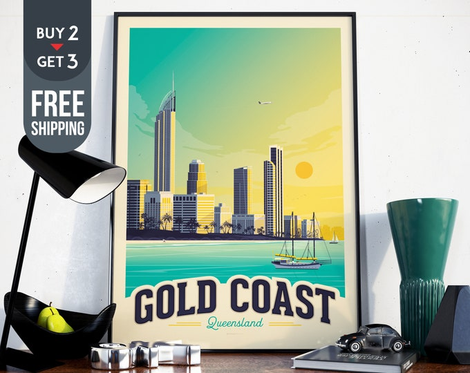 Gold Coast Australia Vintage Travel Poster Print, Australia art print, Australia wall art, Sea  Beach home decor, travel decor, beach print