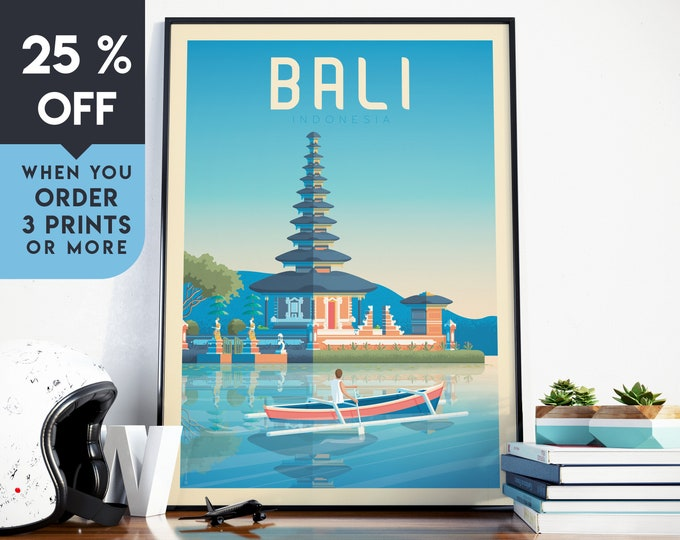 Bali Indonesia Asia Vintage Travel Poster, Wall Art Print, Minimalist, City Skyline, World Map Art, Tropical illustration, Home Decor, Gift
