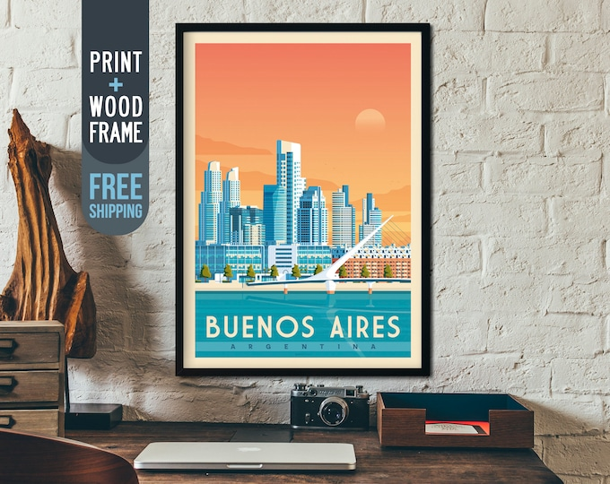 Buenos Aires Print - Buenos Aires Vintage Travel Poster, framed poster, Argentina wall art, home decoration, wall decoration, gift idea