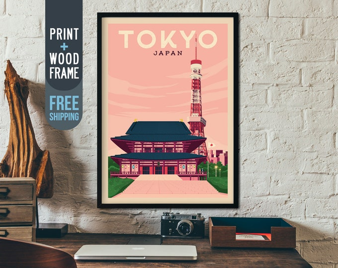Tokyo Japan Asia Poster - Asia Travel Poster, Tokyo skyline framed poster, Asia wall art, home, wall decoration, gift idea, retro print
