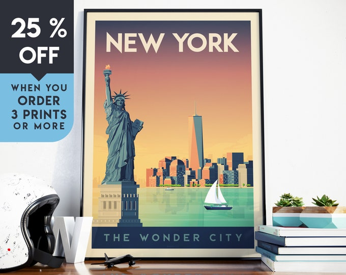 New York City Vintage Travel Poster, Wall Art Print, Minimalist, City Skyline, World Map Art, NYC Cityscape illustration, Home Decor, Gift