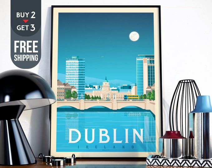 Dublin Ireland Vintage Travel Poster, Dublin vintage print, Dublin Ireland wall art, home decoration, wall decoration, Irish gift idea