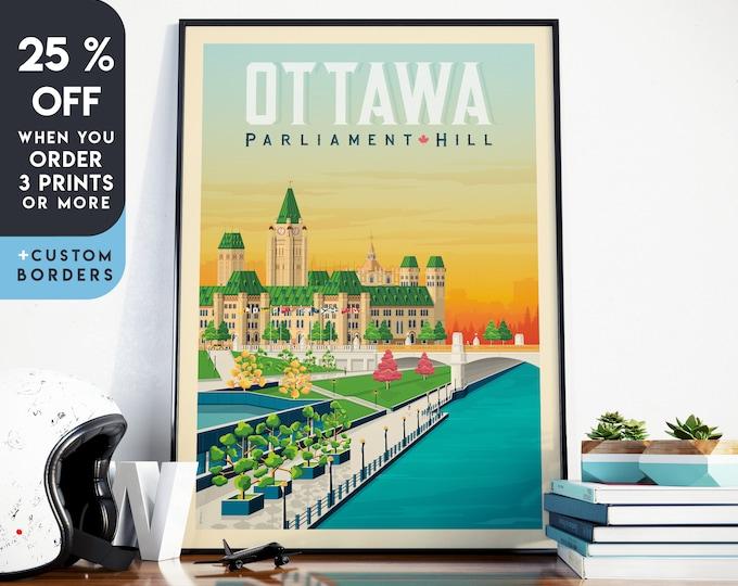 Ottawa Print   Ottawa Vintage Travel Poster   Canada Print   Ottawa Poster   Canada Poster   City Skyline Wall Art   Home Decor   Gift